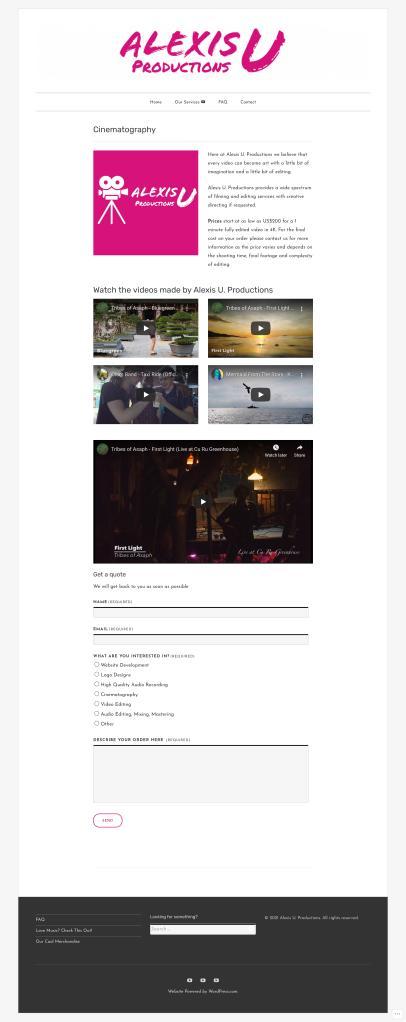 Alexis U. Productions - Cinematography